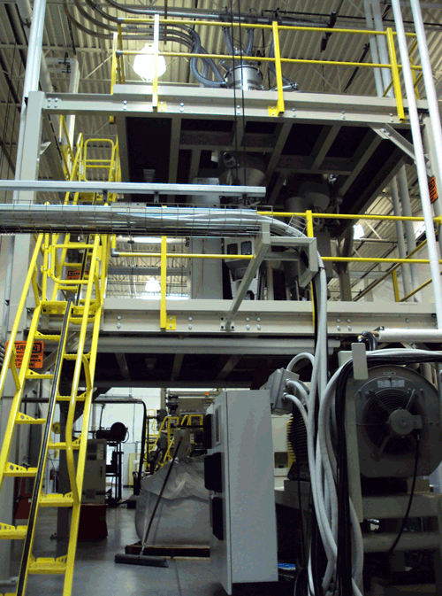 plastics processing equipment support structure
