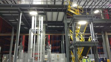 distribution center stairway system, with landings