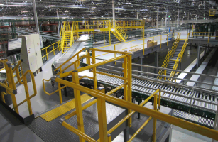 distribution center mezzanine, clothing retailer
