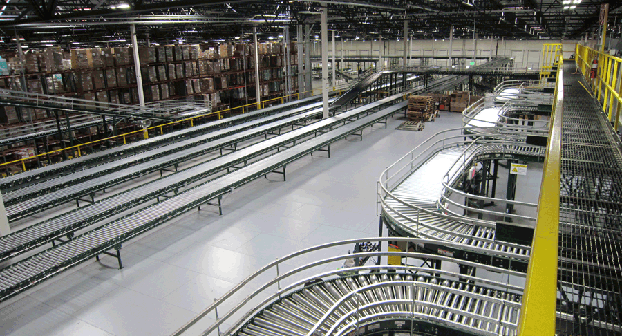 conveyor system supported by steel mezzanines and platforms