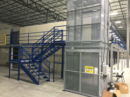 industrial lift on mezzanine