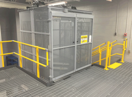 fork lift access elevator on mezzanine